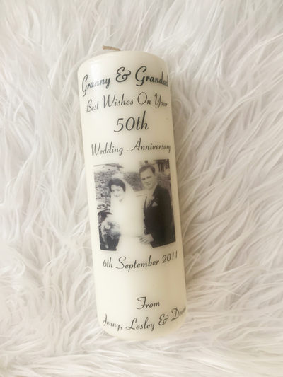 Personalised Anniversary Candle Clare