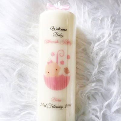 Personalised New Baby Candle Clare
